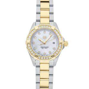Tag Heuer MOP Diamonds 18K Yellow Gold And Stainless Steel Aquaracer WBD1423.BB0321 Women's Wristwatch 27 MM