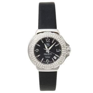 Tag Heuer Black Stainless Steel Crystal Formula 1 WAC1214-0 Women's Wristwatch 35.5 mm