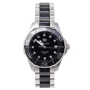 Tag Heuer Black Stainless Steel Ceramic Aquaracer WAY131C Women's Wristwatch 35 mm