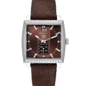 Tag Heuer Brown Diamonds Stainless Steel Monaco WAW1316 Women's Wristwatch