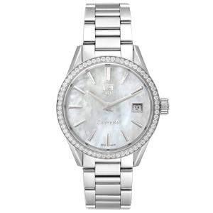 Tag Heuer MOP Diamonds Stainless Steel Carrera WAR1315 Women's Wristwatch 32 MM