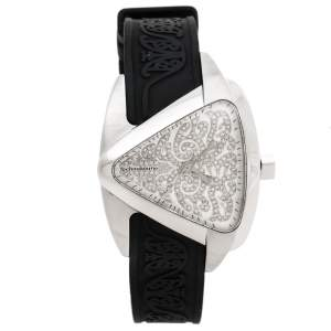 TechnoMarine Silver Diamond Stainless Steel Rubber Maori Women's Wristwatch 39 mm