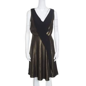 Temperley Old Gold and Black Sleeveless V-neck Edom Lame Dress M