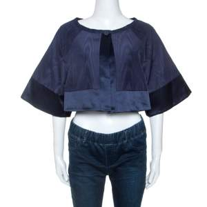 Temperley Blue Cotton And Satin Trim Palais Bolero L