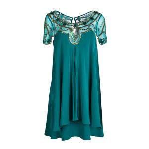 Temperley London Green Layered Silk Embellished Yoke Detail Dress M
