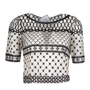 Temperley London Beige Embroidered Embellished Angeli Fishnet Crop Top S