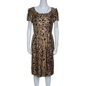 Temperley London Brown and Black Printed Silk Short Sleeve Dress M
