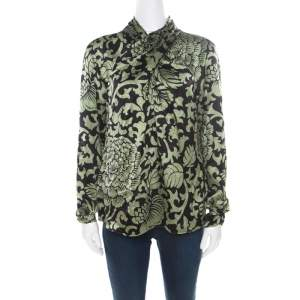 Temperley Black and Green Floral Printed Textured Silk Faux Wrap Front Top M