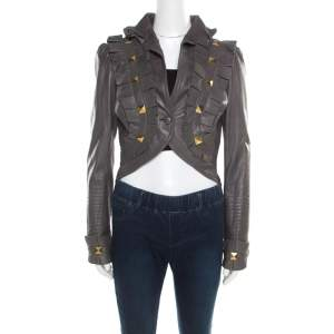 Temperley Grey Leather Ruffle Trim Rock Stud Embellished Cropped Jacket M