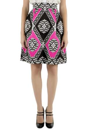 Temperley London Black and Pink Embossed Jacquard Mini Skirt S
