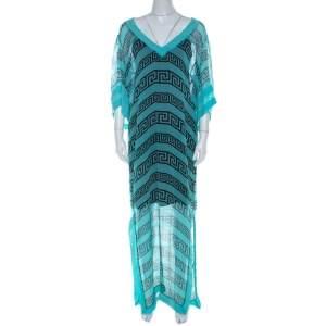 Temperley London Aqua Green Sheer Printed Silk Caesar Maxi Kaftan L
