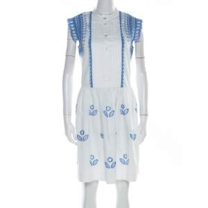 Temperley London White and Blue Embroidered Cotton Scalloped Gilda Dress M