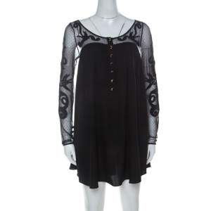 Temperley Black Silk Blend Embroidered Net Yoke Tunic S
