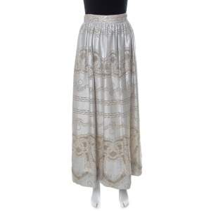 Temperley London Silver Metallic Silk Blend Pearl Maxi Skirt S