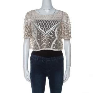 Temperley London Cream Embellished Sand Tulle Crop Top L