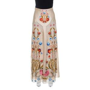 Temperley London Beige Silk Organza Toledo Floral Embroidered Maxi Skirt S