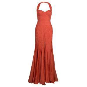 Temperley London Orange Crinkle Chiffon Evening Gown M