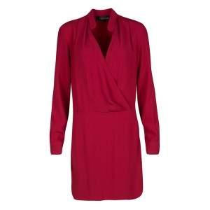 Thakoon Red Crepe Draped Long Sleeve Dress S