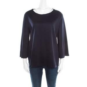 The Row Dark Blue Cotton Flared Sleeve Boxy T-Shirt L