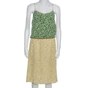 فستان تيبي ميدي خصر مطاط حرير طباعة تجريدية ثنائي اللون L