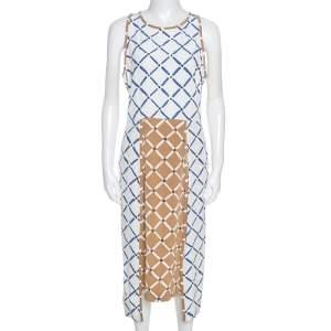 فستان تيبي بلا أكمام حرير طباعة هندسية كتل لونية L
