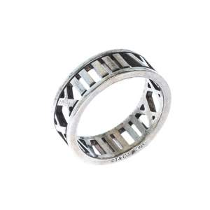 Tiffany & Co. Atlas Openwork Roman Numeral Silver Band Ring Size 53
