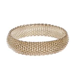 Tiffany & Co. Somerset Silver Mesh Link Bangle Bracelet