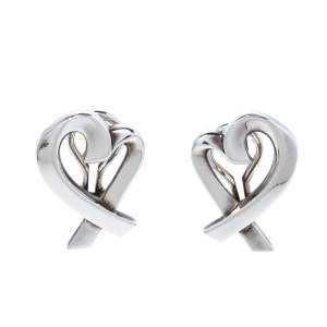 Tiffany & Co. Paloma Picasso Loving Heart Silver Stud Earrings
