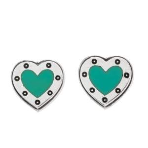 Tiffany & Co. Return to Tiffany Enamel Love Heart Silver Stud Earrings