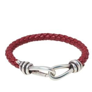Tiffany & Co. Paloma Picasso Silver Knot Single Braid Leather Wrap Bracelet