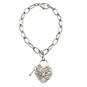 Tiffany & Co. Sterling Silver Filigree Heart & Lock Charm Bracelet