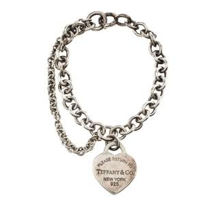 Tiffany & Co. Sterling Silver Double Chain Heart Tag Bracelet