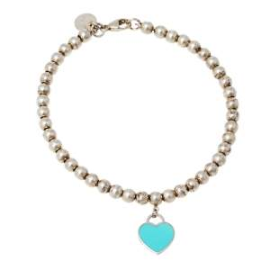 Tiffany & Co. Return To Tiffany Sterling Silver Heart Tag Bead Bracelet