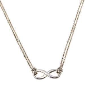 Tiffany & Co. Sterling Silver Infinity Pendant Double Chain Necklace