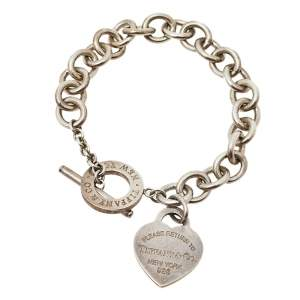 Tiffany & Co. Return To Tiffany Heart Tag Silver Chain Link Toggle Bracelet