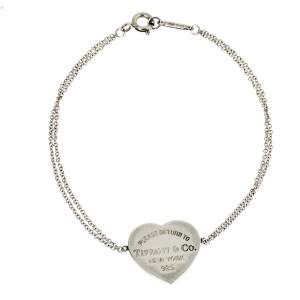 Tiffany & Co. Sterling Silver Heart Tag Double Chain Bracelet
