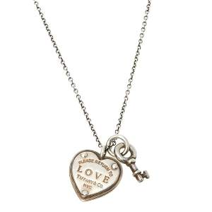 Tiffany & Co. Return To Tiffany Love Heart Tag and Key Pendant Sterling Silver Necklace