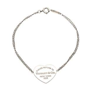 Tiffany & Co. Return To Tiffany Heart Tag Double Chain Sterling Silver Bracelet