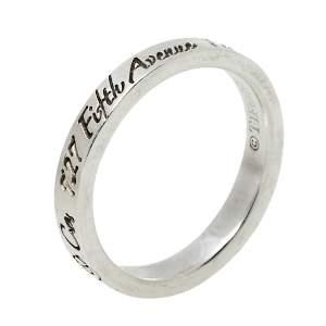 Tiffany & Co. Sterling Silver Notes Narrow Band Ring Size EU 49