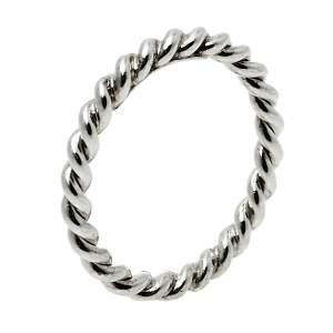 Tiffany & Co. Twist Sterling Silver Narrow Band Ring Size EU 51