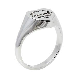 Tiffany & Co. Return To Tiffany Sterling Silver Heart Signet Ring Size EU 55