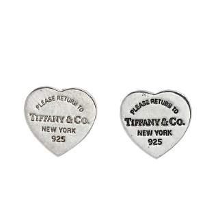 Tiffany & Co. Return To Tiffany Mini Heart Tag Silver Stud Earrings