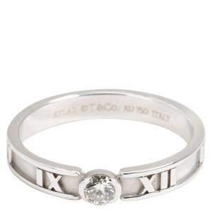 Tiffany & Co. Atlas 0.12 CTW Diamond 18K White Gold Band Ring Size 54