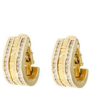 Tiffany & Co. Atlas Numeric 1.6 CTW Diamond 18K Yellow Gold Earrings