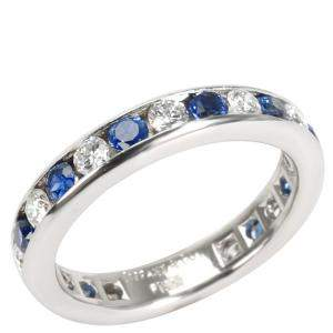 Tiffany & Co. Channel Set 0.6 CTW Diamond And Sapphire Platinum Band Ring Size 47