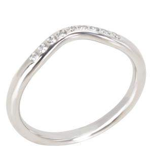 Tiffany & Co. Elsa Peretti Curved 0.06 CTW Diamond Platinum Wedding Band Ring Size 50.5