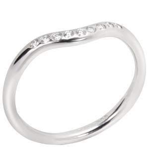Tiffany & Co. Elsa Peretti 0.06 ctw Diamond Platinum Wedding Band Ring Size 52
