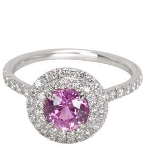 Tiffany & Co. Soleste Pink Sapphire & Diamond Platinum Ring Size 52