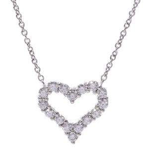 Tiffany & Co. Sentimental Diamond Heart Platinum Necklace