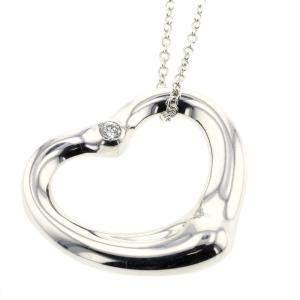 Tiffany & Co. Open Heart Silver Diamond Pendant Necklace